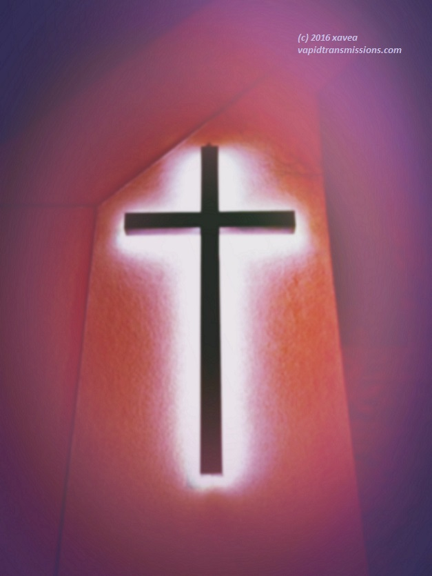 purple lit cross